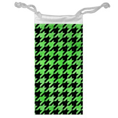 Houndstooth1 Black Marble & Green Watercolor Jewelry Bag