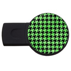 Houndstooth1 Black Marble & Green Watercolor Usb Flash Drive Round (4 Gb)