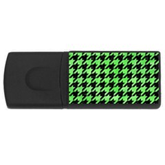 Houndstooth1 Black Marble & Green Watercolor Rectangular Usb Flash Drive