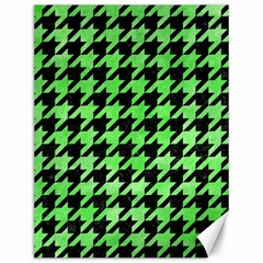 Houndstooth1 Black Marble & Green Watercolor Canvas 12  X 16