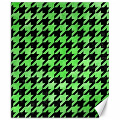 Houndstooth1 Black Marble & Green Watercolor Canvas 20  X 24