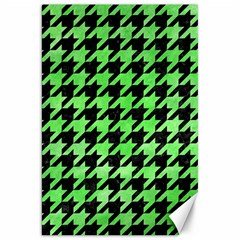 Houndstooth1 Black Marble & Green Watercolor Canvas 20  X 30