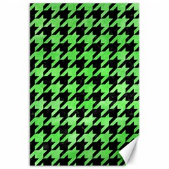 Houndstooth1 Black Marble & Green Watercolor Canvas 24  X 36