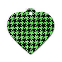 Houndstooth1 Black Marble & Green Watercolor Dog Tag Heart (one Side)