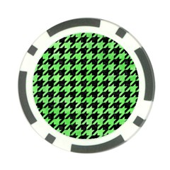 Houndstooth1 Black Marble & Green Watercolor Poker Chip Card Guard (10 Pack)