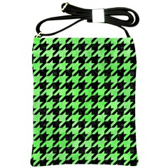 Houndstooth1 Black Marble & Green Watercolor Shoulder Sling Bags