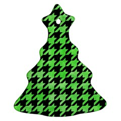Houndstooth1 Black Marble & Green Watercolor Christmas Tree Ornament (two Sides)