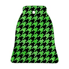 Houndstooth1 Black Marble & Green Watercolor Bell Ornament (two Sides)