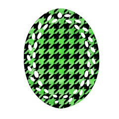 Houndstooth1 Black Marble & Green Watercolor Oval Filigree Ornament (two Sides)