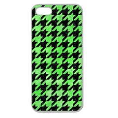 Houndstooth1 Black Marble & Green Watercolor Apple Seamless Iphone 5 Case (clear)