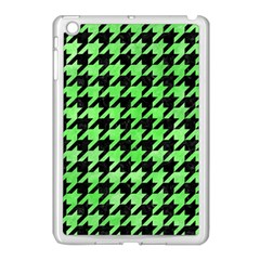 Houndstooth1 Black Marble & Green Watercolor Apple Ipad Mini Case (white)