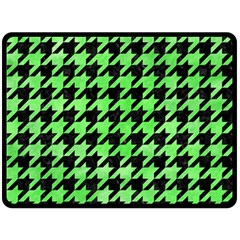 Houndstooth1 Black Marble & Green Watercolor Double Sided Fleece Blanket (large)