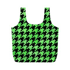 Houndstooth1 Black Marble & Green Watercolor Full Print Recycle Bags (m)