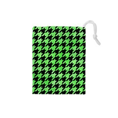 Houndstooth1 Black Marble & Green Watercolor Drawstring Pouches (small)