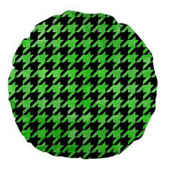 Houndstooth1 Black Marble & Green Watercolor Large 18  Premium Flano Round Cushions
