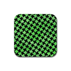 Houndstooth2 Black Marble & Green Watercolor Rubber Coaster (square)