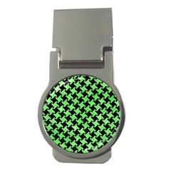 Houndstooth2 Black Marble & Green Watercolor Money Clips (round)
