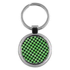 Houndstooth2 Black Marble & Green Watercolor Key Chains (round)