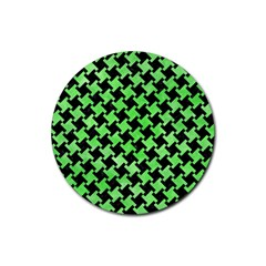 Houndstooth2 Black Marble & Green Watercolor Rubber Round Coaster (4 Pack)