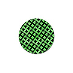 Houndstooth2 Black Marble & Green Watercolor Golf Ball Marker (10 Pack)