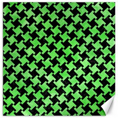 Houndstooth2 Black Marble & Green Watercolor Canvas 16  X 16