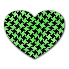 Houndstooth2 Black Marble & Green Watercolor Heart Mousepads