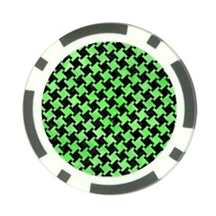 Houndstooth2 Black Marble & Green Watercolor Poker Chip Card Guard