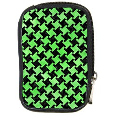 Houndstooth2 Black Marble & Green Watercolor Compact Camera Cases