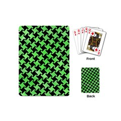 Houndstooth2 Black Marble & Green Watercolor Playing Cards (mini)