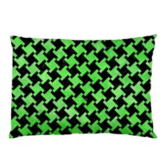 Houndstooth2 Black Marble & Green Watercolor Pillow Case (two Sides)