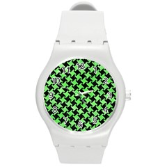 Houndstooth2 Black Marble & Green Watercolor Round Plastic Sport Watch (m)