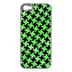 Houndstooth2 Black Marble & Green Watercolor Apple Iphone 5 Case (silver)