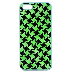 Houndstooth2 Black Marble & Green Watercolor Apple Seamless Iphone 5 Case (color)