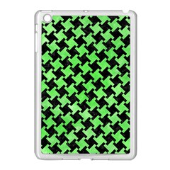 Houndstooth2 Black Marble & Green Watercolor Apple Ipad Mini Case (white)