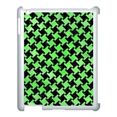 Houndstooth2 Black Marble & Green Watercolor Apple Ipad 3/4 Case (white)
