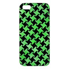 Houndstooth2 Black Marble & Green Watercolor Apple Iphone 5 Premium Hardshell Case