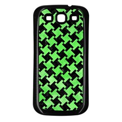 Houndstooth2 Black Marble & Green Watercolor Samsung Galaxy S3 Back Case (black)