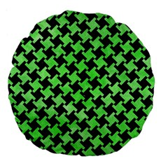 Houndstooth2 Black Marble & Green Watercolor Large 18  Premium Flano Round Cushions
