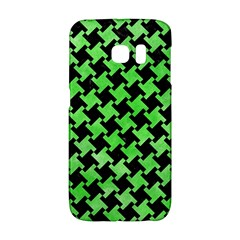 Houndstooth2 Black Marble & Green Watercolor Galaxy S6 Edge