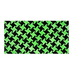 Houndstooth2 Black Marble & Green Watercolor Satin Wrap