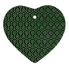 Hexagon1 Black Marble & Green Watercolor Ornament (heart)