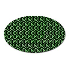 Hexagon1 Black Marble & Green Watercolor Oval Magnet
