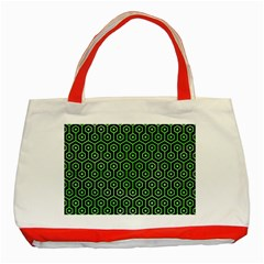 Hexagon1 Black Marble & Green Watercolor Classic Tote Bag (red)