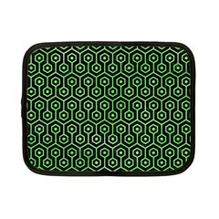 Hexagon1 Black Marble & Green Watercolor Netbook Case (small)