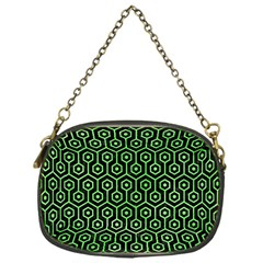 Hexagon1 Black Marble & Green Watercolor Chain Purses (one Side)
