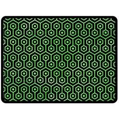 Hexagon1 Black Marble & Green Watercolor Fleece Blanket (large)