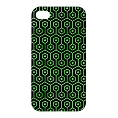 Hexagon1 Black Marble & Green Watercolor Apple Iphone 4/4s Hardshell Case