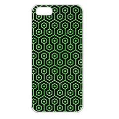 Hexagon1 Black Marble & Green Watercolor Apple Iphone 5 Seamless Case (white)