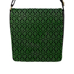Hexagon1 Black Marble & Green Watercolor Flap Messenger Bag (l)