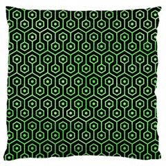 Hexagon1 Black Marble & Green Watercolor Standard Flano Cushion Case (one Side)